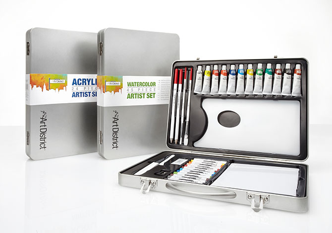 The Art District acrylic and watercolor art supplies sets