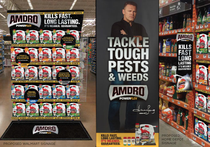 Picture of Amdro In-store signage with Howie Long