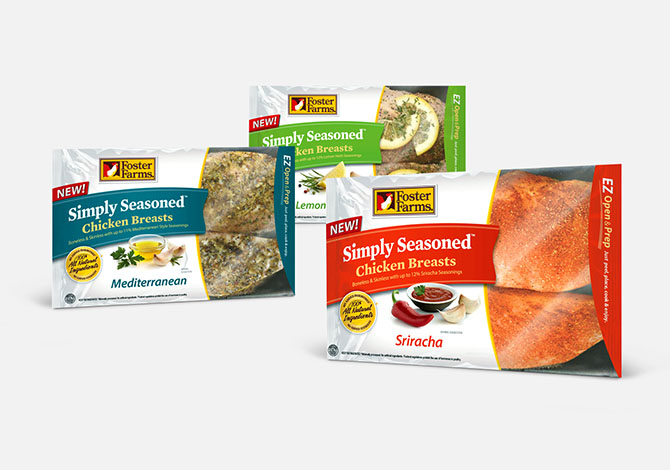 Foster Farms Simply Seasoned chicken breast packaging