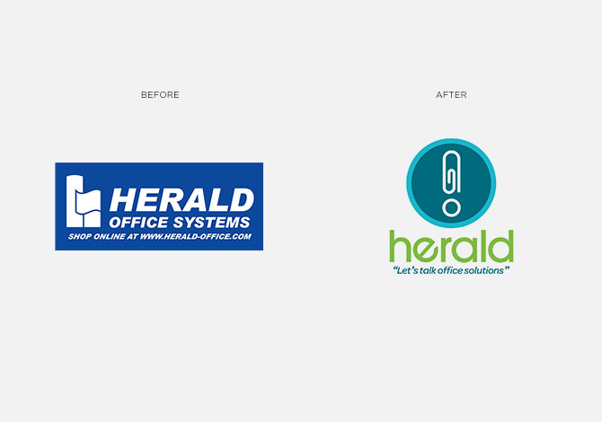 Herald before and after logo rebrand