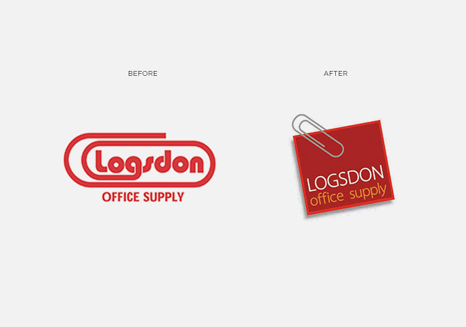 Logsdon Office Supply before and after logo rebrand