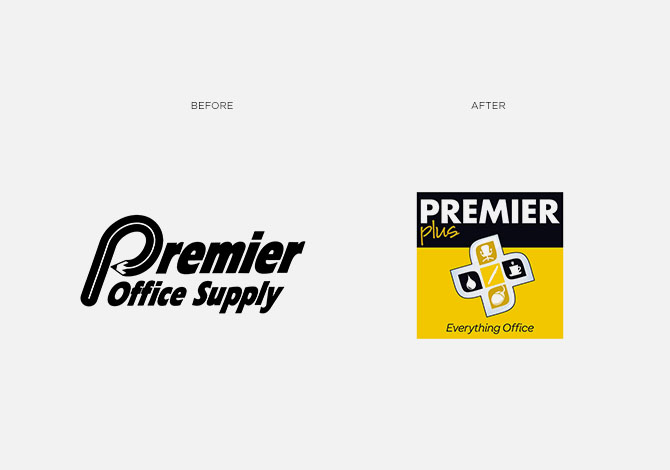 Premier before and after logo rebrand