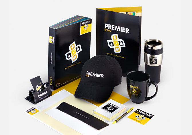 Premier branded coffee cup, mug, sticker, pen, notebook, catalog and hat