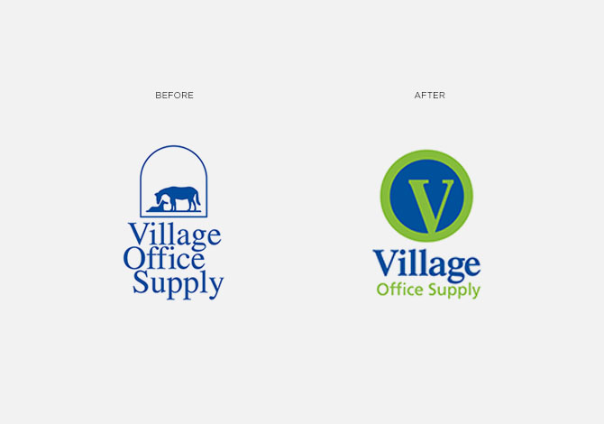 Village Office Supply before and after logo rebrand