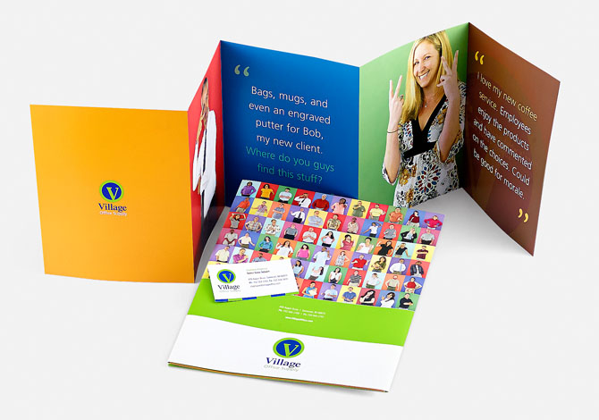 Village Office Supply branded flyer, brochure and business card