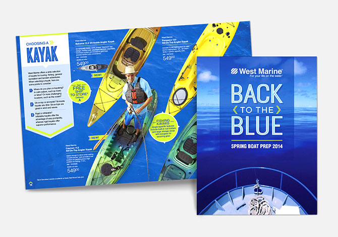 West Marine Back to the Blue catalog cover and inside spread
